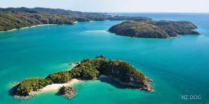 FT NEW ZEALAND Abel Tasman Adele Fisherman Islands aerial NZDOC