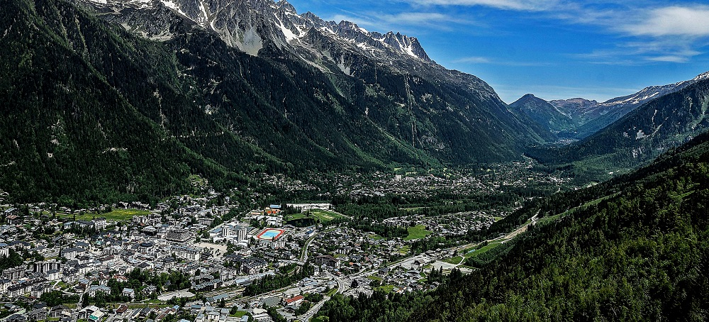 FRANCE Chamonix city view from mountain