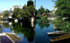 FRANCE Ile sur la Sorgue Nego-Chins boat collage